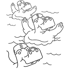 Swimming Hippos Coloring Pages