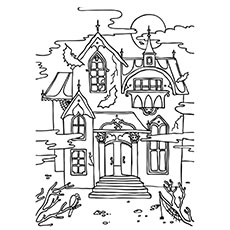 a haunted_house_colouring - Halloween House Coloring Pages
