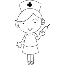 nurse with the syringe in her hand coloring pages