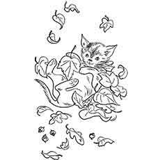coloring sheet of autumn leaves
