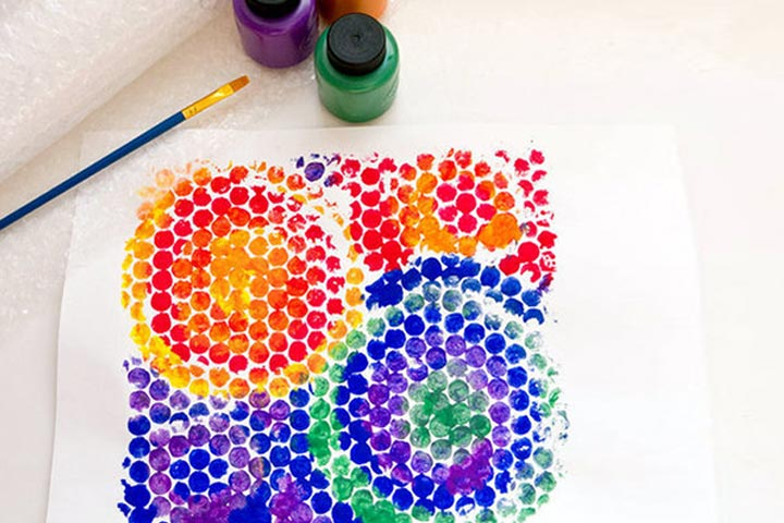 bubble wrap color painting