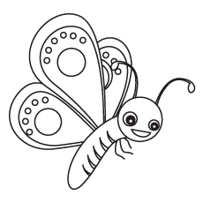 Coloring Pages of Cute Outlined Butterfly