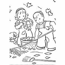 A Boy A Girl And Dog Cleaning Up Fall Leaves Coloring Page