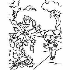 Coloring Page Of Kids Enjoying The Fall Time Fun
