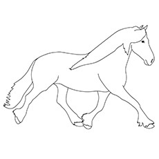 Friesian Horse Coloring Worksheet