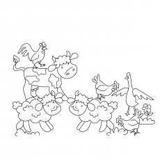 Group Of Lambs And Birds