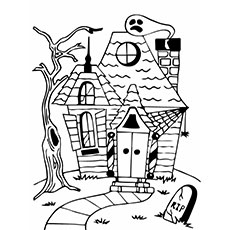 halloween haunted house - Haunted House Coloring Pages