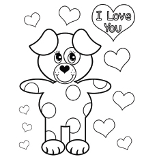 Bear Saying I Love You On Valentines Day Coloring Page To Print