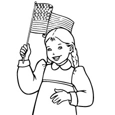 July 4th Girl Holding a Flag in Hand Coloring Page