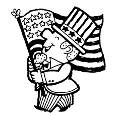 July 4th Old Man with Flag and Flowers Coloring Page