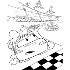 Lightning McQueen in Racing Coloring Pages