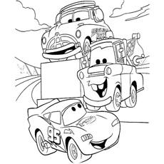 lightning mcqueen talking with friends coloring page to print