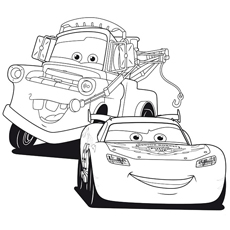 Lightning McQueen With Best Friend Coloring Page