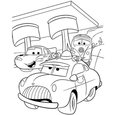 lightning mcqueen with friends having a great time coloring page