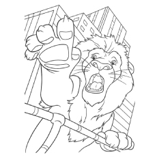 Lion in city Coloring Pages