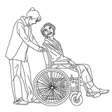 Nurse Helping the Patient Who is on Wheel Chair Coloring Pages
