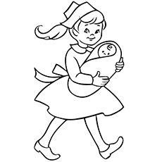 Nurse Holding the Baby with Both the Hands Coloring Pages