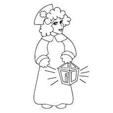 Nurse Holding the Candle Lamp Coloring Pages