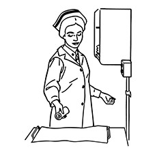 Nurse Taking Cotton from the Draw Coloring Pages