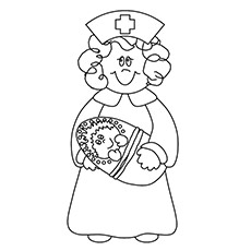 Nurse Holding The Doll To Color