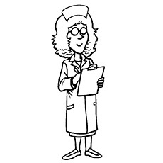 Nurse Reading about Patient Details on Letter pad Coloring Pages