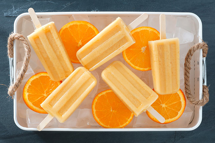 Orange yogurt pops