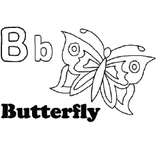 'B' For Butterfly Coloring Pages