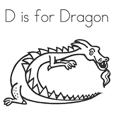 d for dragon coloring page