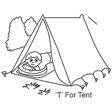 the t for tent - Letter T Coloring Sheets