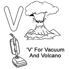 Letter V For Vacuum And Volcano Coloring Pages