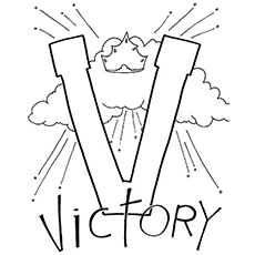 V For Victory Coloring Sheet