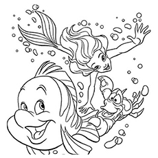 Ariel Flounder And Sebastian Swimming Deep Under Water Coloring Pages