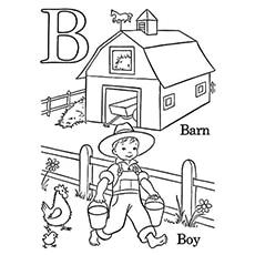 B Barn And Boy Coloring Sheet