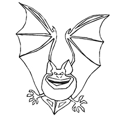 Coloring Sheet of Halloween Bat