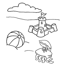 Crab on Beach Coloring Pages