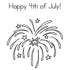 Coloring Page of Beautiful Fireworks Lit on 4th July