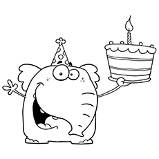 Cartoon Elephant with Birthday Cake Coloring Page
