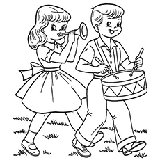 Printable Coloring Pages of Boy And Girl Playing Instruments on July 4th