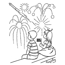 Boy And Girl Watching Fireworks On 4th July In USA Coloring Page