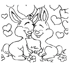 Bunnies Show Love Each Other Coloring Pages