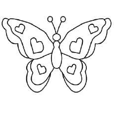 Butterfly Pictures With Hearts Shapes on Wings Coloring Pages