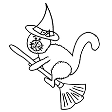 Halloween Cat Flying on Broom Coloring Pages