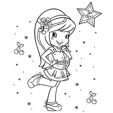 cherry jam of strawberry shortcake cartoon coloring pages