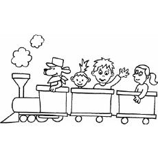 Children On A Toy Train Enjoying The Ride Coloring Pages