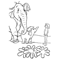 Colonel Elephant and Baby Coloring Page