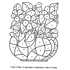 the color by number coloring pages - Flowers Coloring Pages