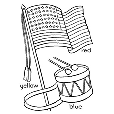 Printable Sheet of Colors are Mentioned to Color the Flag on 4th July