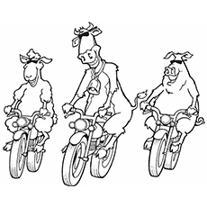 cool animals on motorcycle coloring pages for free