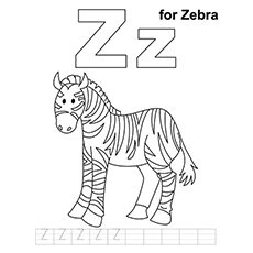Letter Z For Zebra Coloring Sheet