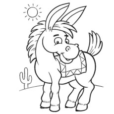 the cute donkey - Donkey Coloring Pages